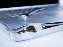 Damaged laptop stock image