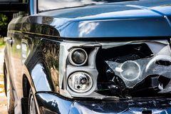 Free Damaged Left Headlight Of The Black Car SUV. Road Crash, Headlamp After Accidented. The Broken Parts Of The Car Closeup. Insurance Royalty Free Stock Photos - 159551338