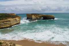 Damaged London Bridge on the Great Ocean Road Stock Photos
