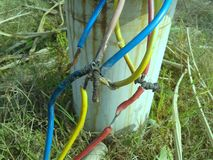 Damaged many electric wires can causes risk. royalty free stock photos