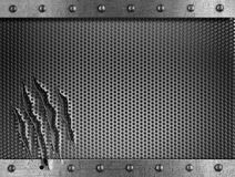 Damaged metal grate background with rivets  Royalty Free Stock Photo