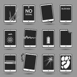 Damaged mobile phone set. Set of damaged mobile phones. Cracked screen, broken case, water damage, software error, weak battery, overheating, lost password Stock Image