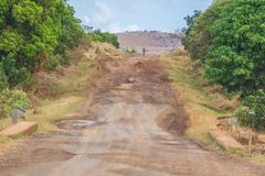 Damaged national road leading to Morondava in Madagascar royalty free stock images