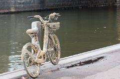 Damaged oBike Retrieved from Melbourne`s Yarra River stock photos