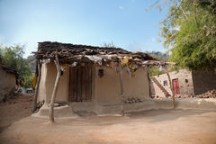 Damaged old house. In village of india made of soil Stock Photos