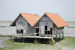 Damaged old house at Thalesap Songkhla. And Thale Noi Waterfowl Reserve Park in Phatthalung, Thailand Stock Photography