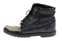 Damaged old shoes on white macro Royalty Free Stock Image