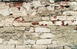 Damaged Old White Wall, Bricklaying Stock Photos