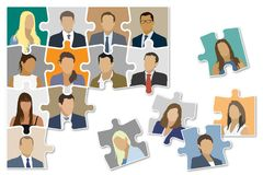 Damaged organization. Jigsaw puzzle shown as a damaged organizational structure of the company Royalty Free Stock Photos