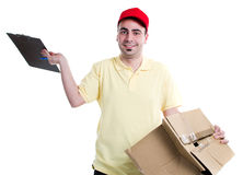 Damaged parcel. Delivery man with damaged fragile parcel isolated on white background Royalty Free Stock Photo