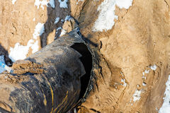 Damaged piece of pipe of the main gas pipeline Stock Photo