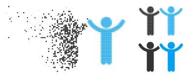 Damaged Pixel Halftone Hands Up Children Icon royalty free illustration