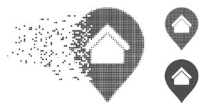 Damaged Pixel Halftone Residence Marker Icon. Gray vector residence marker icon in dispersed, pixelated halftone and undamaged whole versions. Disappearing Stock Image