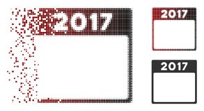 Damaged Pixel Halftone 2017 Year Calendar Template Icon. Vector 2017 year calendar template icon in dispersed, dotted halftone and undamaged solid variants stock illustration