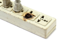 Damaged power strip Royalty Free Stock Photography