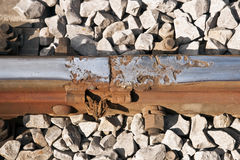 Damaged railway track Stock Photo