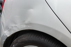 Damaged rear bumper. Due to car collision Stock Photography