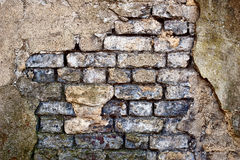 Damaged rendered brick wall Royalty Free Stock Photos