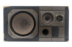 Damaged retro speaker. Isolated on white background Stock Images