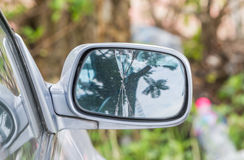 Damaged right rearview mirror on a car Royalty Free Stock Photography