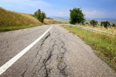Damaged road, Italy Royalty Free Stock Photos