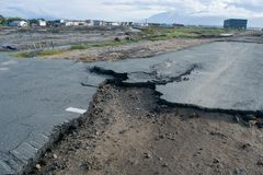 Damaged road after tsunami palu in 28 september 2018 royalty free stock photos