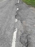 The rural roads deteriorate. The damaged roads in rural areas that require repair Royalty Free Stock Photo