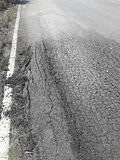 The rural roads deteriorate. The damaged roads in rural areas that require repair Stock Image