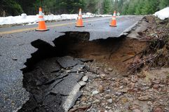Damaged roadway Stock Images