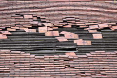 Damaged Roof With A Large Hole Royalty Free Stock Images