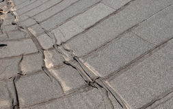 Damaged roofing felt. Damaged insulation layer of the roof. Destruction flat roof due to temperature changes. Damaged waterproofing flat roof. Crack roofing felt royalty free stock images