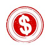 Damaged round red stamp with dollar sign - vector Royalty Free Stock Images