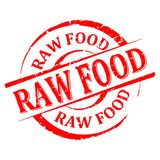 Damaged round red stamp with the word - raw food - vector Royalty Free Stock Image
