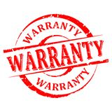 Damaged round red stamp with the word - warranty - vector Stock Image