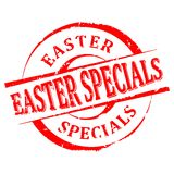 Damaged round red stamped - Easter specialties - vector Royalty Free Stock Images