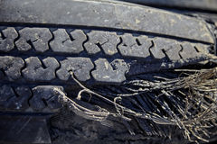 Damaged Ruptured Commercial Truck Tire Closeup Royalty Free Stock Images