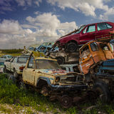 Damaged rusted car scraps Stock Images