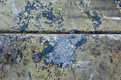 Damaged & rusted metal panels texture from Yak-9. Authentic damaged and rusted metal panels texture from the old Soviet Yakovlev Yak-9 fighter Stock Photography