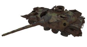 Damaged rusty battle tank on an isolated white background. 3d illustration royalty free illustration