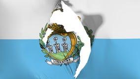 Damaged San Marino flag. White background, 3d rendering royalty free illustration