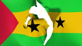 Damaged Sao Tome and Principe flag. White background, 3d rendering vector illustration