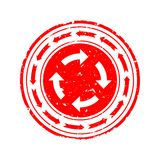 Damaged Seal with two circles with arrows - vector Royalty Free Stock Photos
