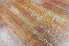 Damaged seasoned wooden floor plank with scratch marks needs res Stock Photos