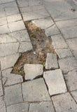 Damaged sidewalk Royalty Free Stock Image