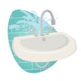 Damaged sink. Illustration of a damaged sink vector illustration