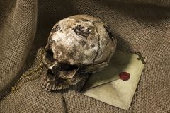 Damaged skull with a letter, with a burlap background. Damaged skull with a vintage letter, with a burlap background stock photos