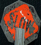 Damaged SLOW Sign Stock Photography