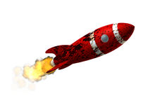 Damaged Space Rocket. A 50s like Space Rocket with a damaged rusted paint texture. Isolated on pure white background Royalty Free Stock Images