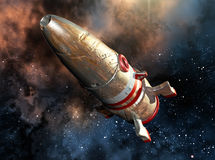 Damaged spacecraft. Floating in space surrounded by stars Royalty Free Stock Image