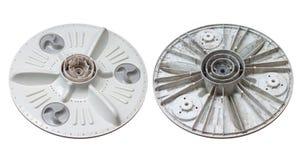 Damaged and stain dirt under pulsator of washing machine isolated on white background. royalty free stock image